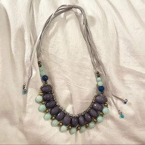 Anthropologie Statement Necklace Purple Turquoise